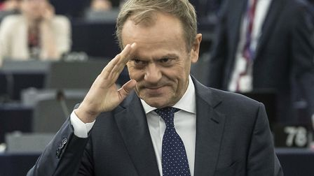 European Council President Donald Tusk waves at the European Parliament in Strasbourg. (AP Photo/Jea