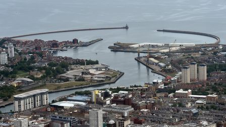 Aerial view of the mouth of the River Wear in Sunderland. Photograph: Owen Humphreys/PA.