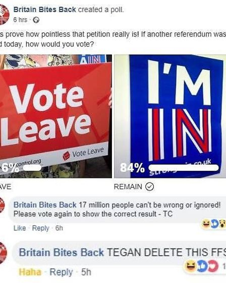 Reaction to the poll from Britain Bites Back. Photograph: Facebook.