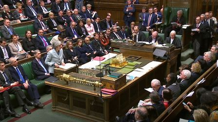 Prime Minister Theresa May makes a statement on Brexit to the House of Commons, London. Photograph: