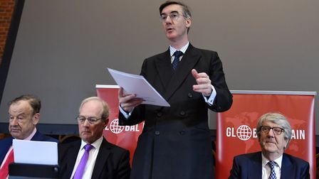 Jacob Rees-Mogg speaks at a panel on Brexit organised by the European Research Group (Photograph: Jo