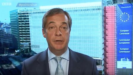 Nigel Farage asked for a march update from Brussels. Photograph: BBC.