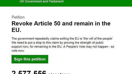 The petition to Revoke Article 50 from the government's petition website. Photograph: Supplied.