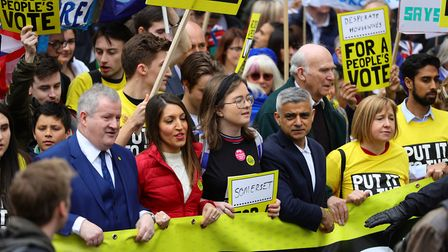 Anti-Brexit campaigners taking part in the People's Vote March in London. Photograph: Aaron Chown/PA