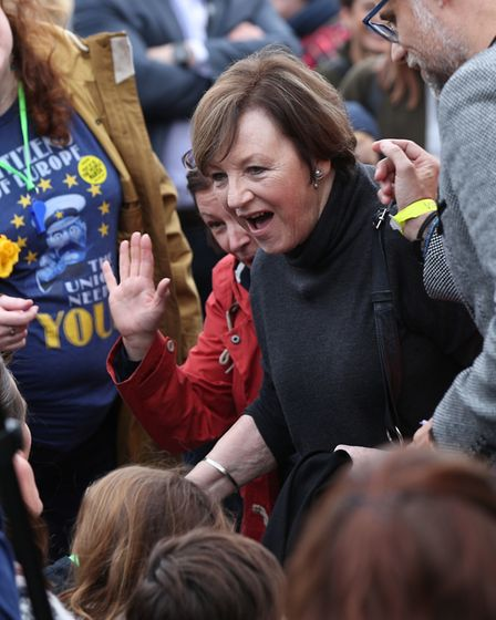 Delia Smith joins with anti-Brexit campaigners as they take part in the People's Vote March in Londo