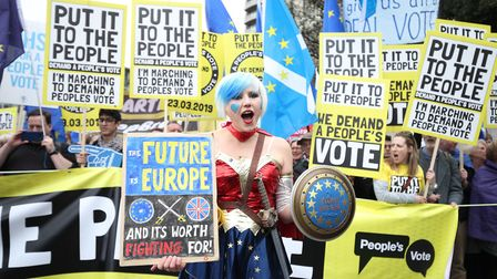 Anti-Brexit campaigners take part in the People's Vote March in London. Photograph: Yui Mok/PA Wire