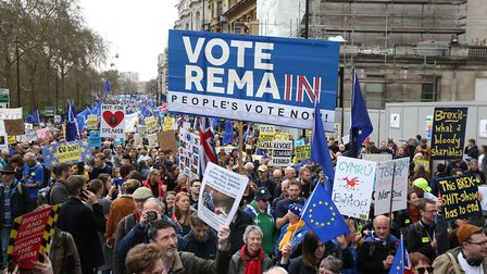 Anti-Brexit campaigners take part in the People's Vote March in London. Photograph: Aaron Chown/PA W