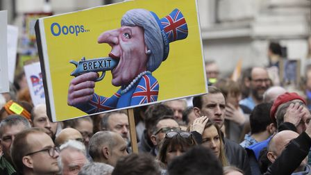 Placards at the People's Vote March. (AP Photo/Kirsty Wigglesworth)
