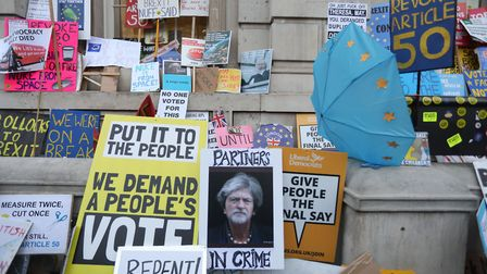 Placards at the People's Vote March. (PA/Isabel Infantes)