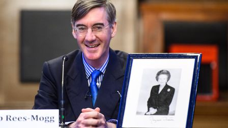 Jacob Rees-Mogg pictured at a fringe meeting at Manchester Town Hall, called 'Brexit with Jacob Rees