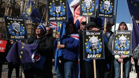 Anti-Brexit demonstrators near the Houses of Parliament, Westminster. Photograph: Jonathan Brady/PA Wire.