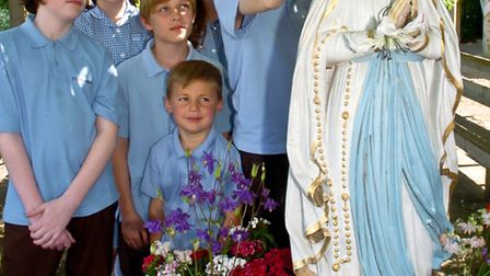 St Francis School, Nailsea, pupils May Procession celebrating Mary.
