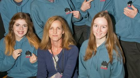 Jo Brown from the Julian Trust Night Shelter with members of the ''Our House'' production team.