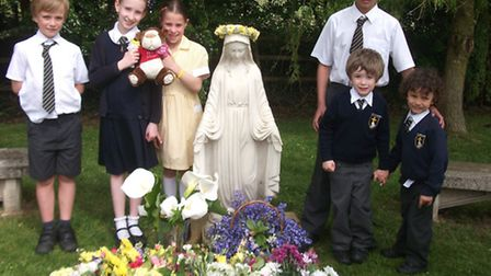 Flowers were presented to the statue by children at St Joseph's Primary School, Portishead