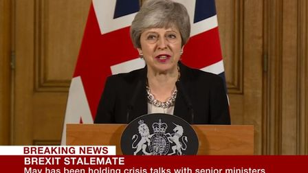 Theresa May's latest Brexit statement. Photograph: BBC/PA.