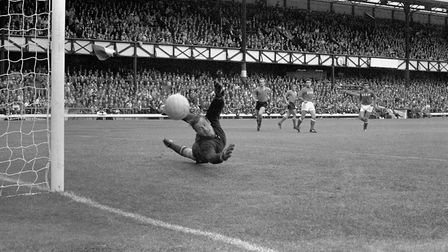 Russia's goalkeeper Lev Yashin makes a save from Italy's Sandro Mazzola, during their Group 4 1966 W