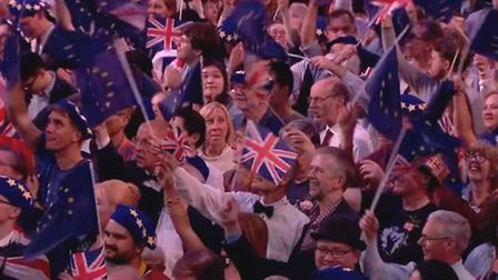 EU flags at the Last Night of the Proms. Photograph: BBC.
