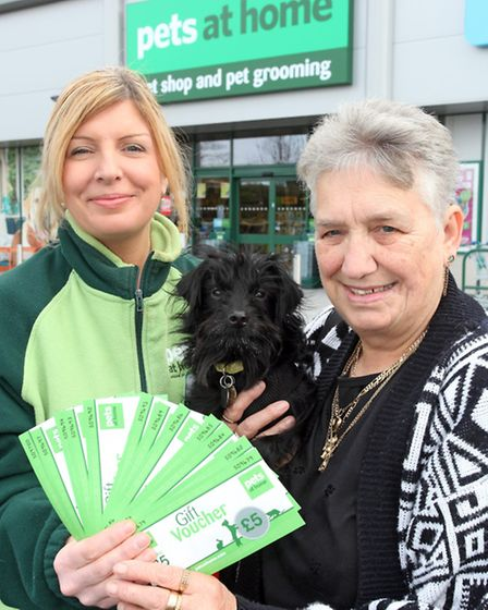 Our Pets at Home competition winner Christine Whittle with store manager Shelly Long