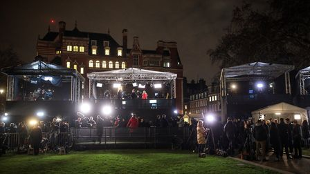 Journalists gather around media tents on College Green. Picture: Jack Taylor/Getty Images