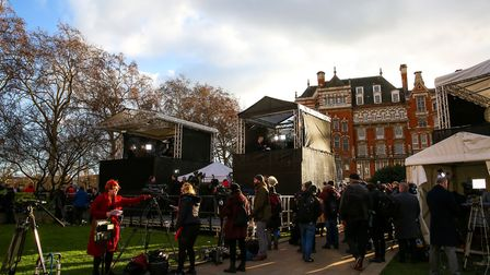 Reporters are seen at the media centre in College Green outside Houses of Parliament. Picture: Dinen