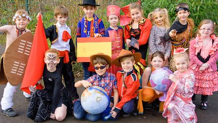 """Pupils in costumes reflecting their """"Around the World in 80 Days"""" WOW day."""