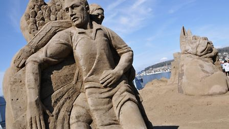 One of the sand sculptures.