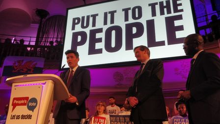 Huw Merriman at the People's Vote rally. Photograph: People's Vote.