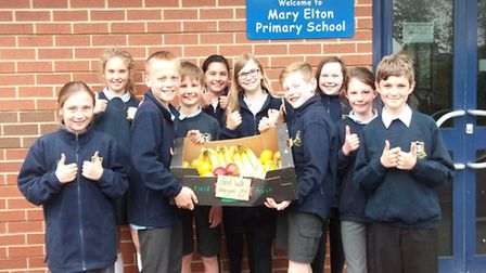 Mary Elton Primary School pupils with their fruit donation.