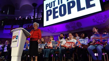 Baroness Betty Boothroyd addresses a People's Vote rally. Photograph: People's Vote Campaign.