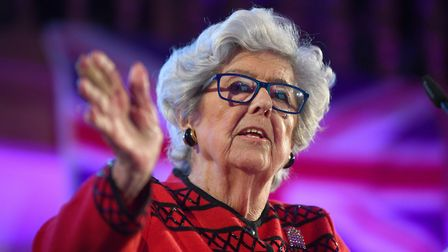 Baroness Betty Boothroyd speaks at the People's Vote Rally. Photograph: Victoria Jones/PA Wire.