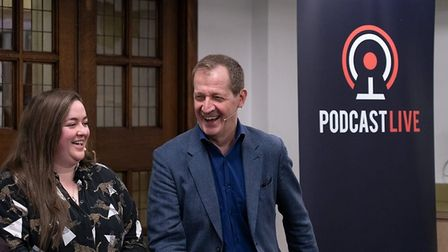 Amanda Chetwynd-Cowieson and Alastair Campbell at a recording of The New European podcast. Photograp