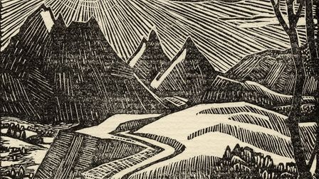 Woodcut frontspiece by Norman James from the book The Gentle Art of Tramping by Stephen Graham publi