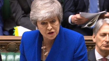 Theresa May speaking at prime minister's questions in the House of Commons (Pic: Parliament TV)