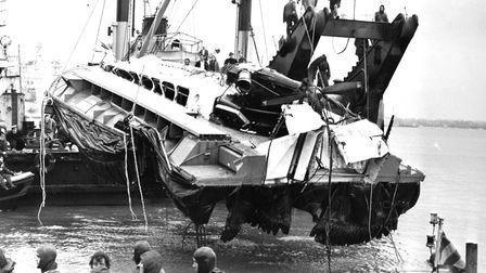 A battered SRN-6 hovercraft is raised from the Portsmouth seabed in 1972. Picture: Getty Images
