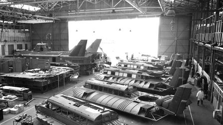 Hovercraft assembly lines at the British Hovercraft Corporation's Cowes, Isle of Wight plant. Pictur