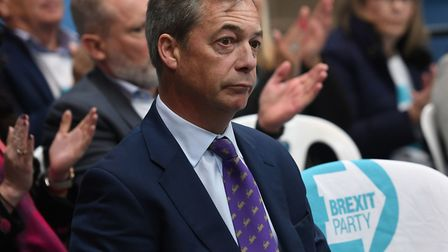 Nigel Farage launches the Brexit Party's European Parliament elections campaign in Coventry. Photogr