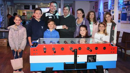 Mark Stallard handed the cheque to Alan Rowe at Portishead Youth Centre.