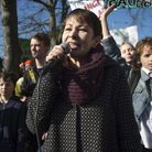 Green party MP Caroline Lucas speaks to students from the Youth Strike 4 Climate movement during a c