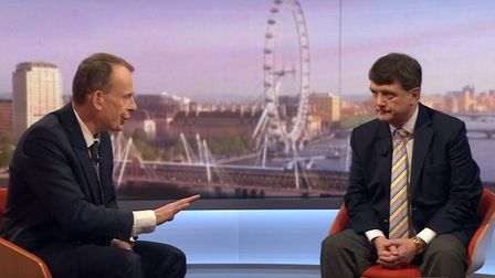 Gerard Batten (right) with host Andrew Marr appearing on theThe Andrew Marr Show. Photograph: BBC/PA