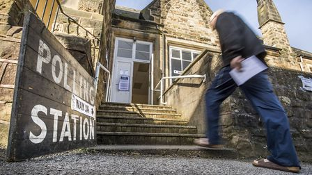 A polling station for local council elections. Photograph: Danny Lawson/PA.