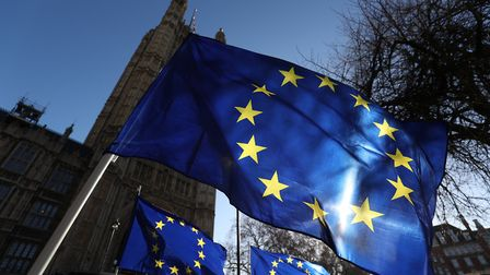 European flags placed by anti-Brexit campaigners outside the Houses of Parliament. Photograph: Jonat