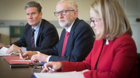 Labour leader Jeremy Corbyn (centre), shadow Brexit secretary Keir Starmer and shadow business secre