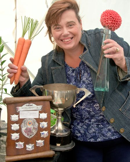 Novice, Julie Humphres with her prizes.