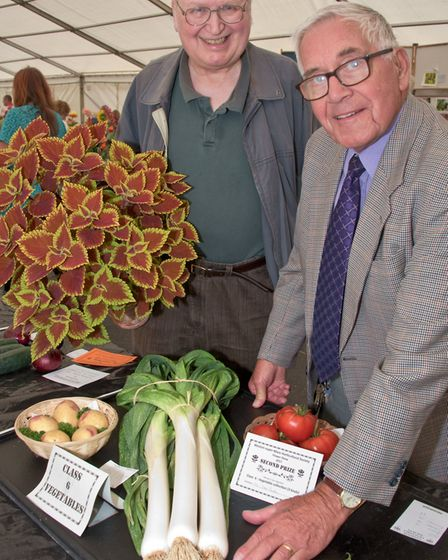 Steve Hartree and Dave Rock with some of their prize winning exhibits.