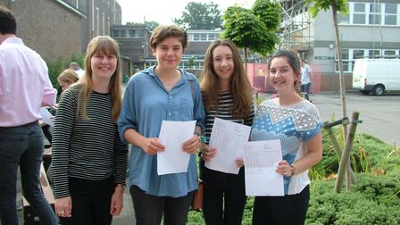 Backwell students collecting their results in 2016.