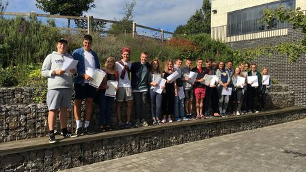 St Katherine's School students celebrating their results.