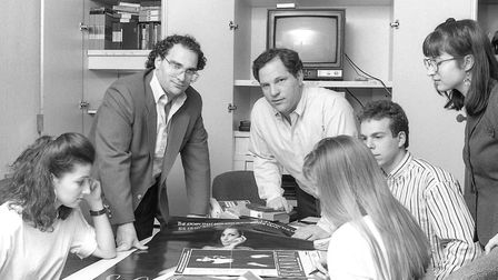 American film producers Harvey Weinstein and his brother Bob Weinstein of Miramax Films at their off