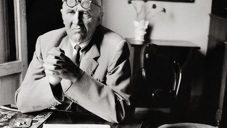 Painter Giorgio Morandi in his flat in Bologna. Photography. 1958. Photo by Imagno/Getty Images