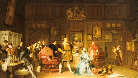 Henry VIII and Anne Boleyn Observed by Queen Catherine (Catherine of Aragon) , whose portrait is on