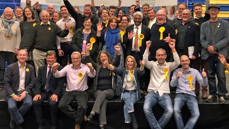 The Liberal Democrats celebrate winning control of Bath and North East Somerset Council from the Con